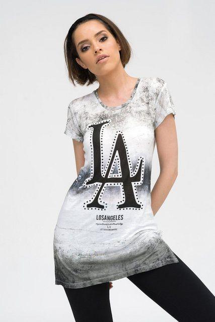 Longshirt Los Angeles Ii Mit Modischem Druck In Streifenoptik Bekleidung Modisch Und Frauen T Shirts
