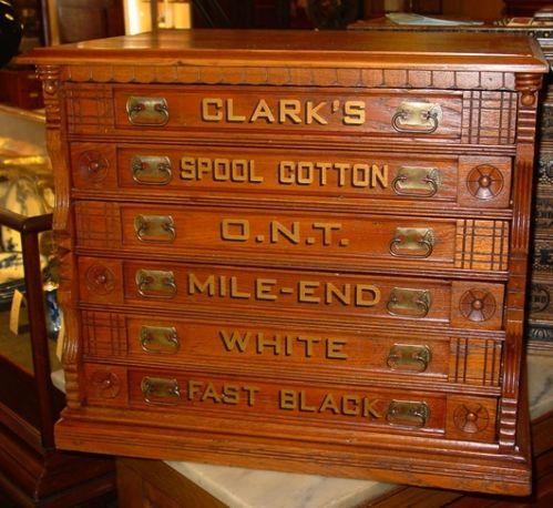 Clarks 6 Drawer Oak Spool Cabinet 14795 Spool Needle