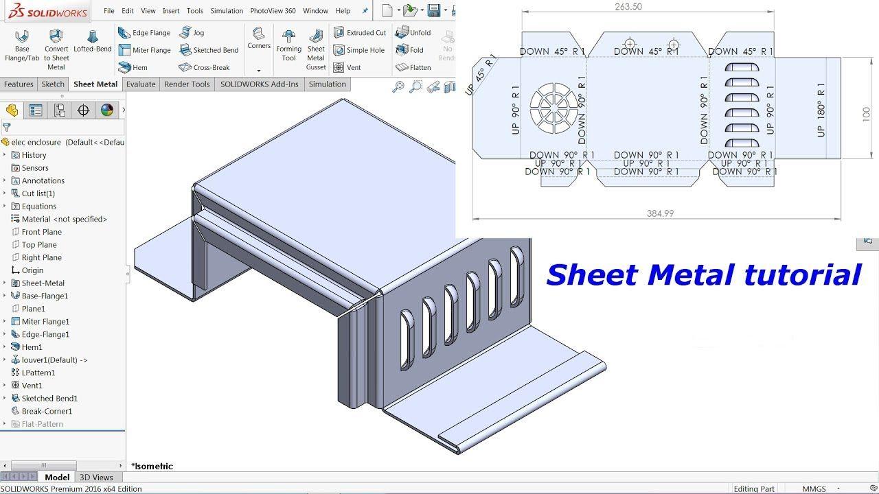 Solidworks Sheet Metal Tutorial Electrical Enclosure Youtube Sheet Metal Solidworks Sheet Metal Art
