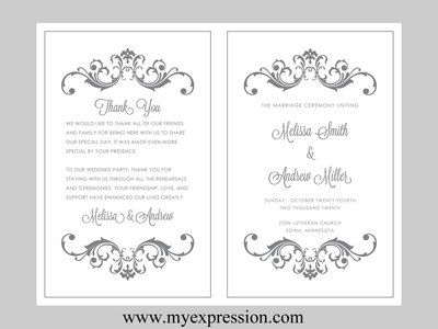 wedding program template bifold gray silver vintage scrolls