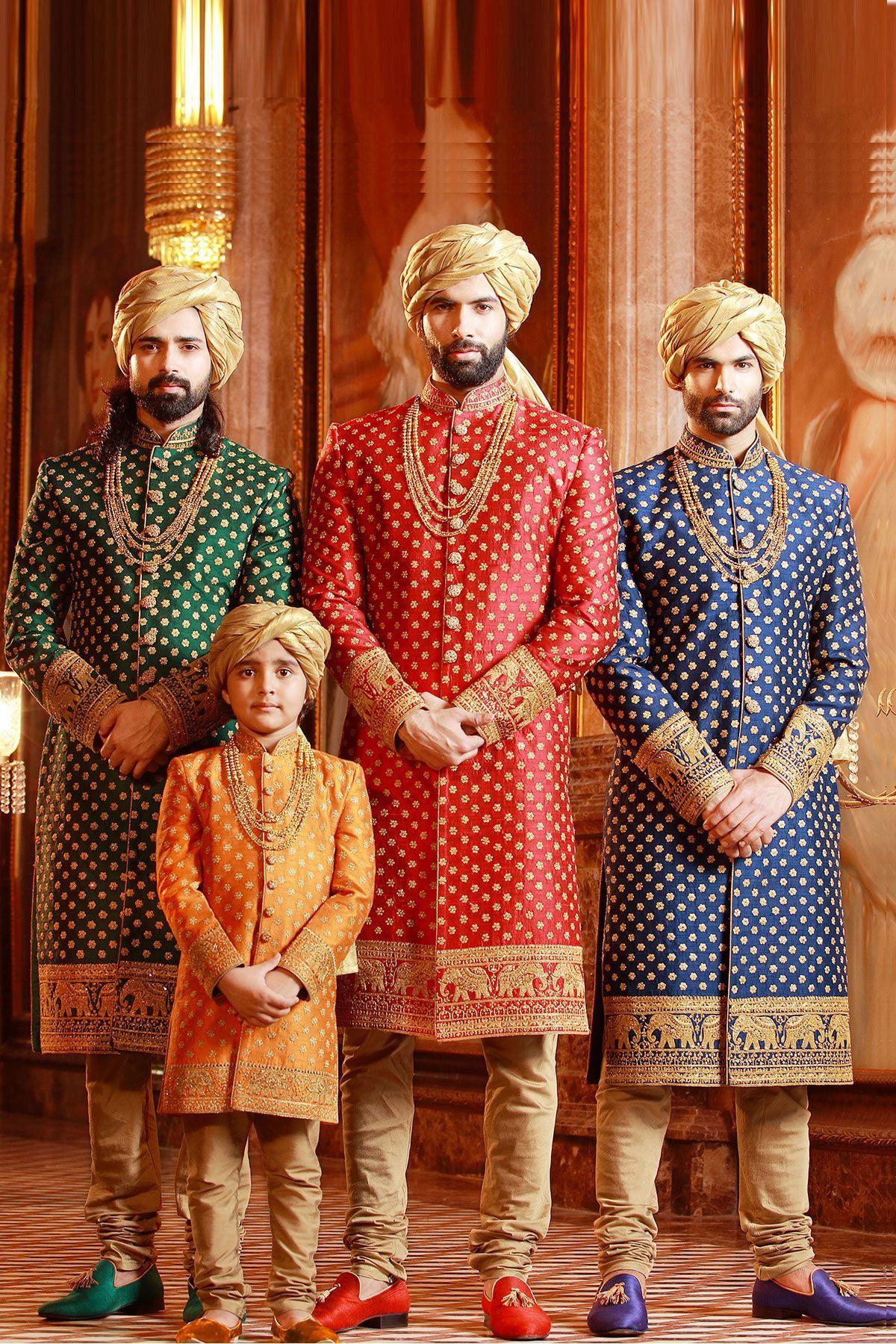 Bluegreenred u gold raw silk zari embroidered wedding sherwani