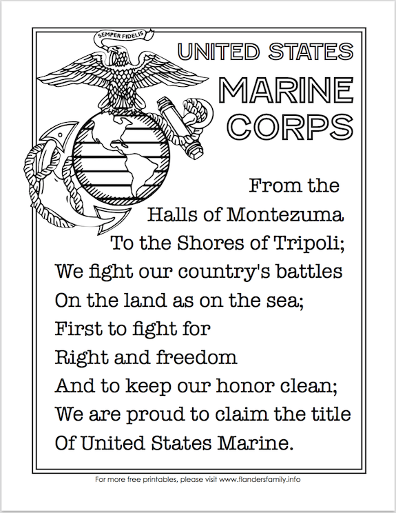 graphic regarding Printable Marine Corps Emblem referred to as Absolutely free Printable US Military services Anthems - Maritime Corps Create