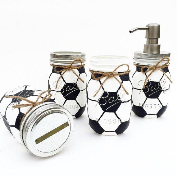 Soccer Mason Jar Soccer Gift Birthday Sports Nursery Etsy Soccer Gifts Mason Jars Soccer Centerpieces