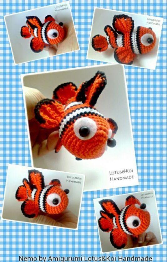 Nemo crochet pattern, clownfish with coral PDF ternura amigurumi ... | 836x534