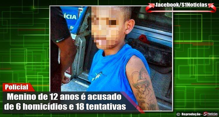 Menino de 12 anos é acusado de 6 homicídios e 18 tentativas