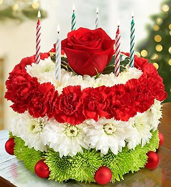 Our Truly Original Floral Cake Is Dressed Up For Christmas With Images Christmas Flowers Unique Flower Arrangements Unique Floral Arrangements