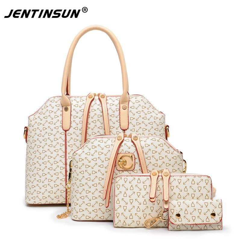 d8324545edb7 2017 Top Polyester Zipper Shoulder Bags Tassel New 3 Pcs set Women Handbags  Pu Leather