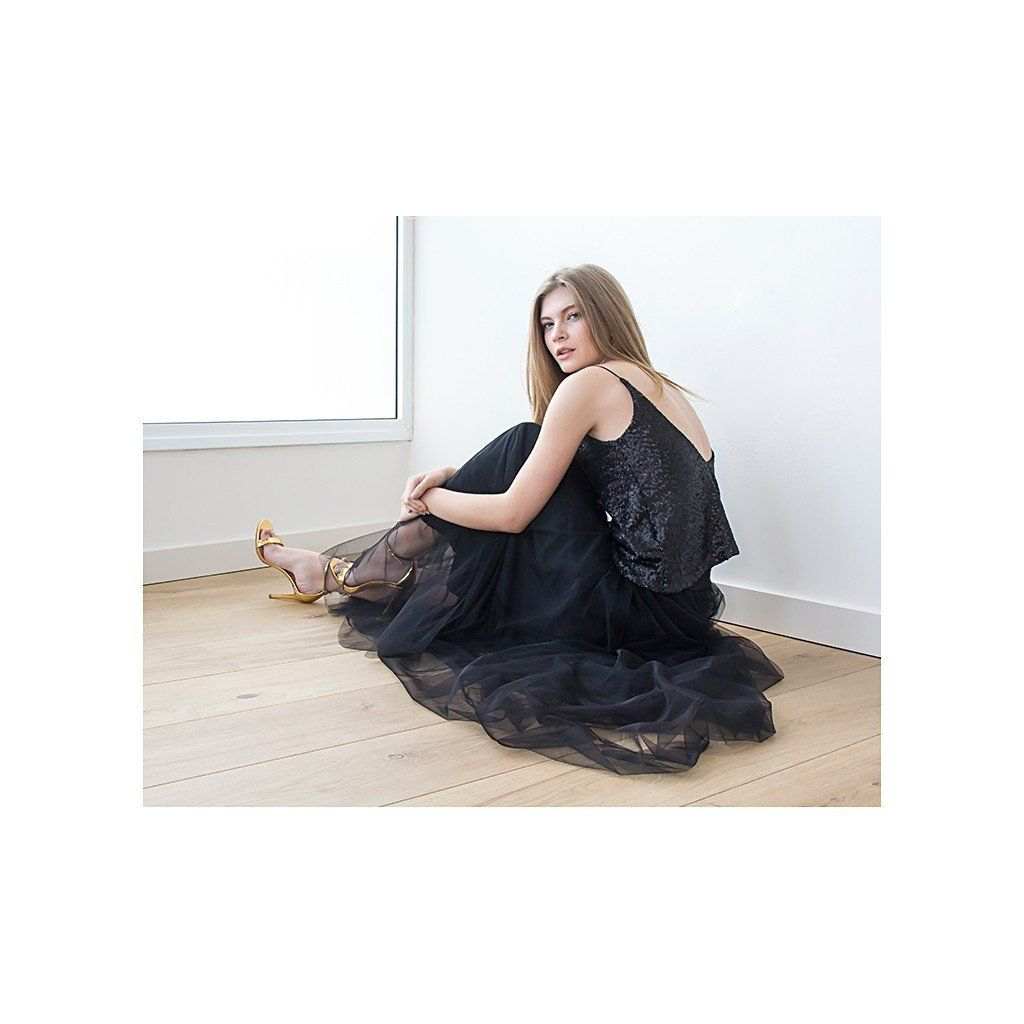 Black maxi tulle skirt dramatic black evening skirt party skirt