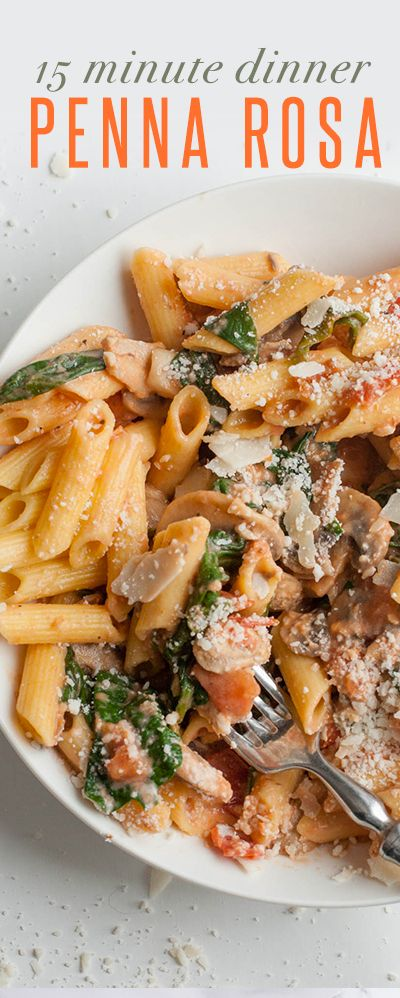 This copycat recipe for Penne Rosa is a healthy, quick, and super tasty dinner to feed to your family. Add chicken or shrimp or keep it veggie!