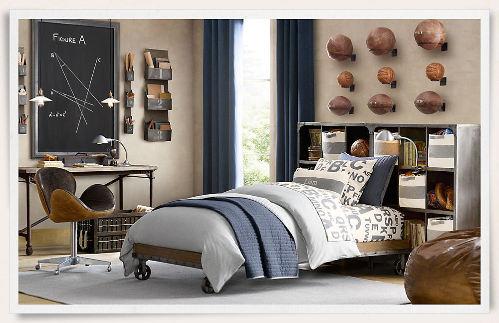 Ideas For Boys Bedrooms Age 10 rooms | restoration hardware | industrial bed with caster wheels
