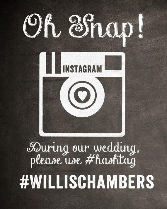 Chalkboard Instagram Wedding Sign Digital File | JCJ ...