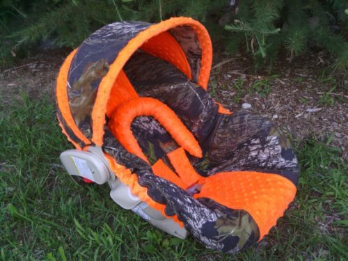 Camo Infant Baby Car Seat Cover Mossy Oak Fabric And Orange Minky