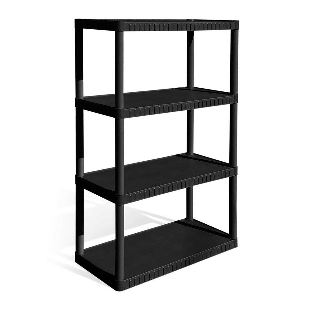 Contico 34 X 14 X 53 Inches 4 Tier Resin Indoor And Garage Storage Shelf Black Products In 2019 Plastic Shelving Units Garage Storage Shelves Plastic Shelves