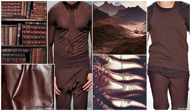 S/S 2016 Men's Color Red-cast shades of Earth brown point to an increasing acceptance of non-traditional hues used as 'new' neutrals for menswear.