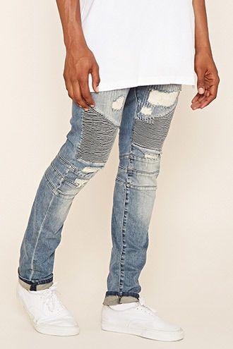 76bda4dd051e3 Reason Distressed Moto Jeans