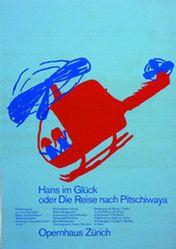 """""""Hans im Glück oder Die Reise nach Pitschiwaya"""" Poster, Opernhaus Zürich, 128 x 90 cm (50,40 x 35,50 inch), 1973"""