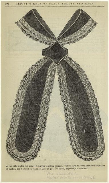 Medici girdle of black velvet and lace. Peterson's Magazine, June 1862. NYPL Digital Collections.