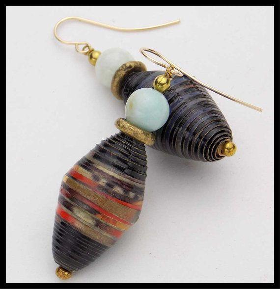 Handmade in Uganda Paper Bead Earrings