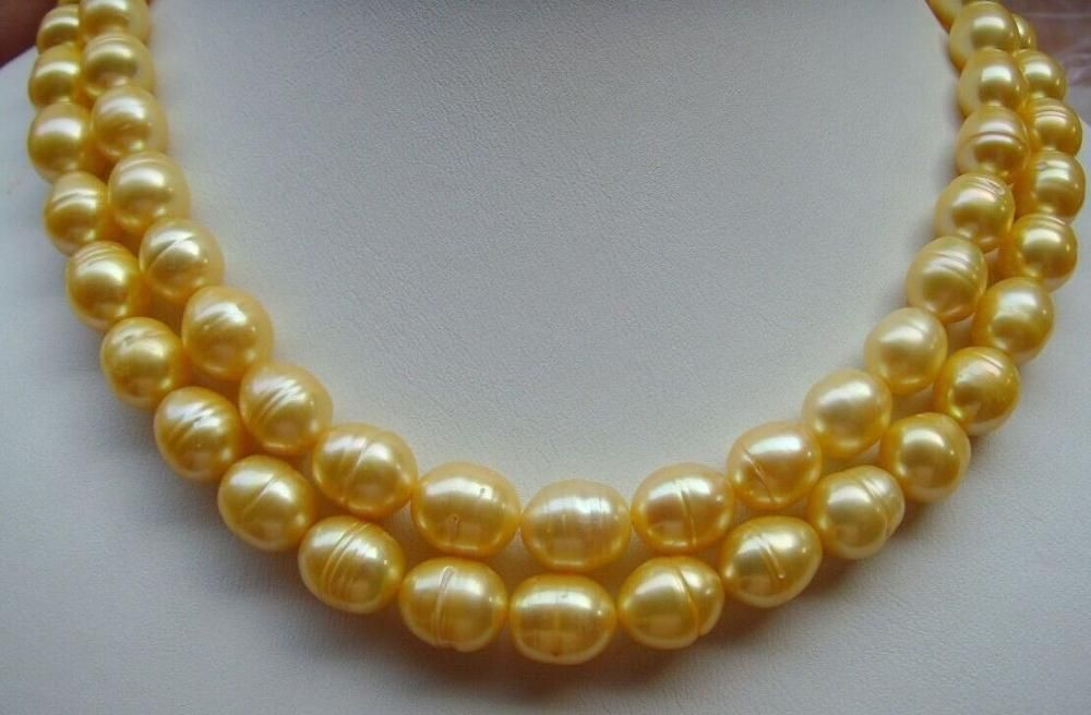 """HOT HUGE 10-11MM NATURAL SOUTH SEA WHITE PEARL NECKLACE 18/"""" 14K GOLD CLASP"""