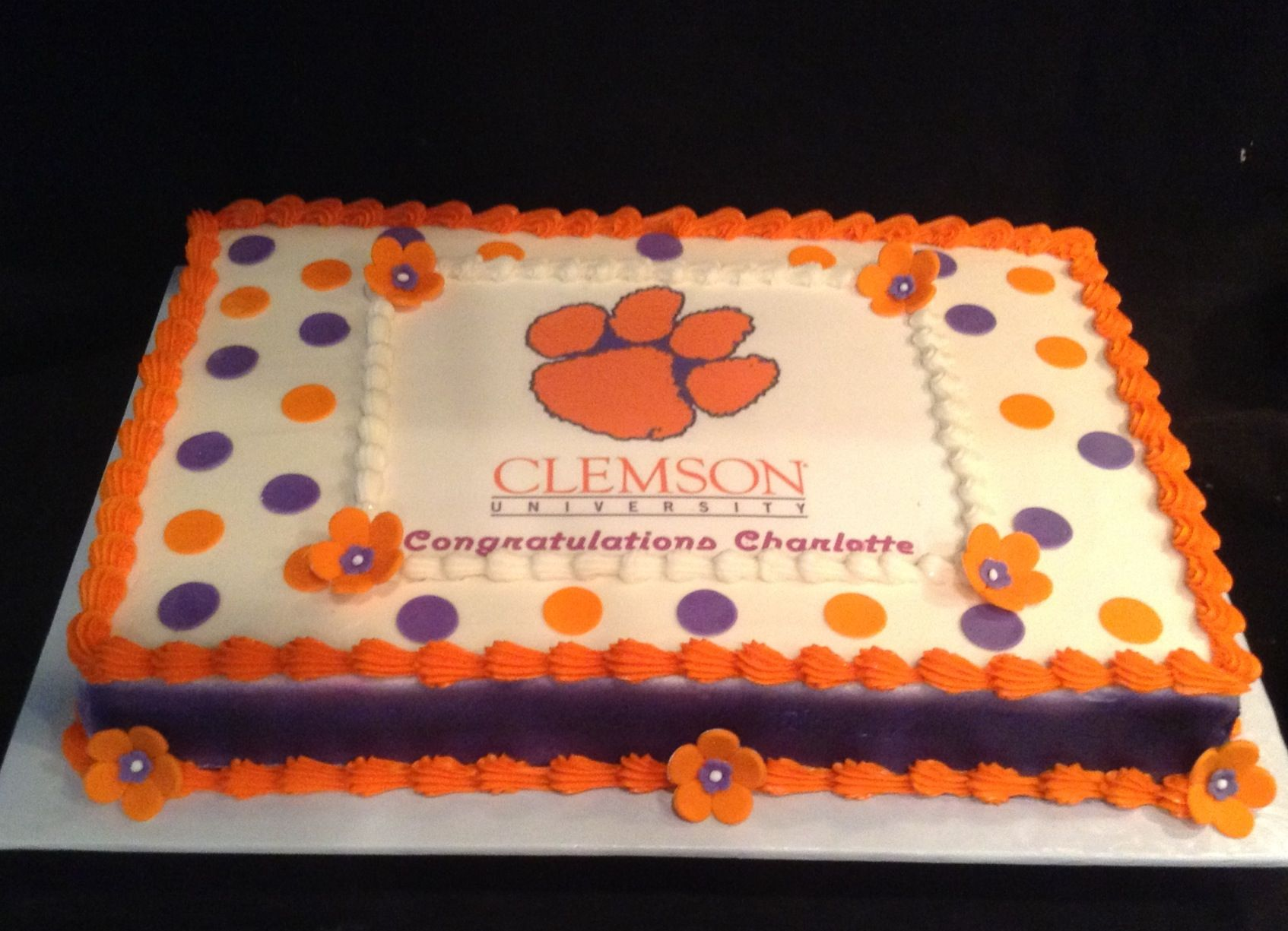 Phenomenal Clemson Grad Cake Dawnbakescakes Com With Images Custom Funny Birthday Cards Online Eattedamsfinfo