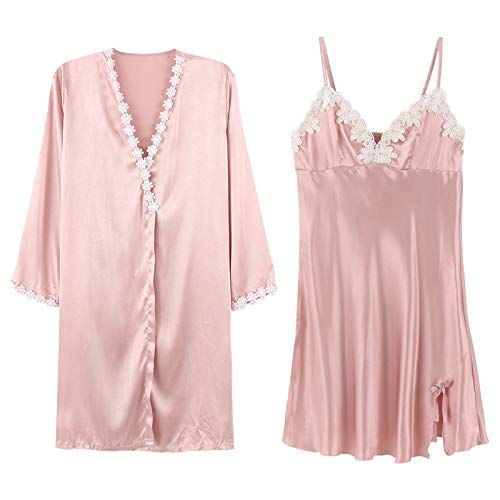 YUANZ Home Student Pajamas Female Summer Korean Version of Silk Girl Striped  Sexy Nightdress was Thin Home Service (Color   Pink 8e1d5eaa0