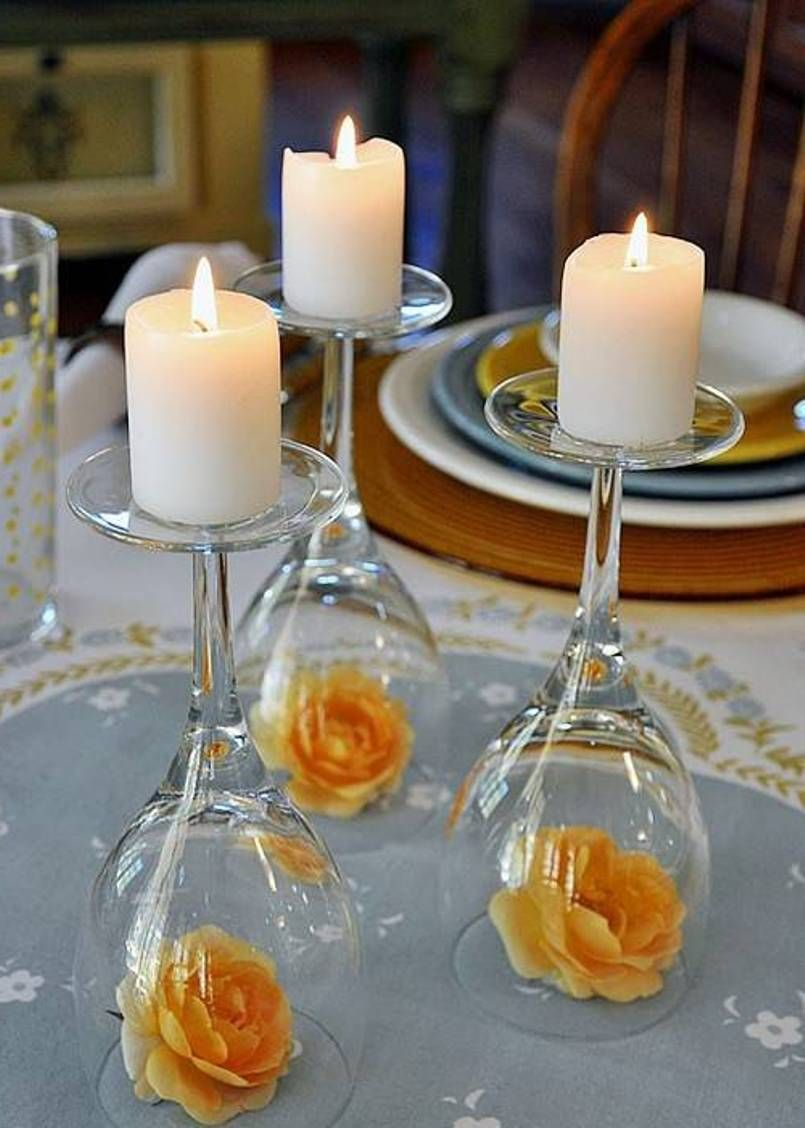 creative wine glasses candle holder centerpieces and roses flowers rh pinterest com tall glass candle holders centerpieces buy tall glass candle holders centerpieces
