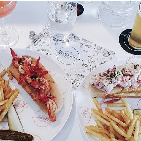Great shot of both Maine and Connecticut-style rolls taken at our new Bondi Beach pop-up. Open throughout the holiday season.  @lesarticulums #watermanslobsterco #bondibeach #summertime #lobsterrolls #perfect #norestforus