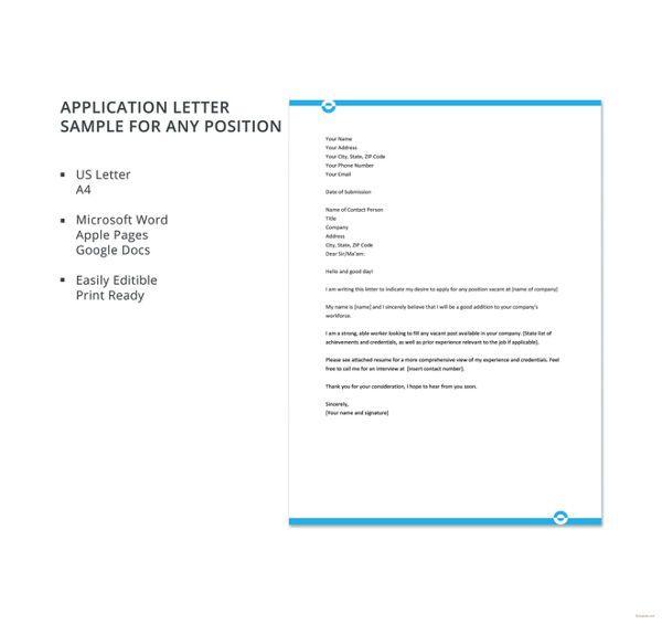 application-letter-sample-for-any-position Screens Pinterest
