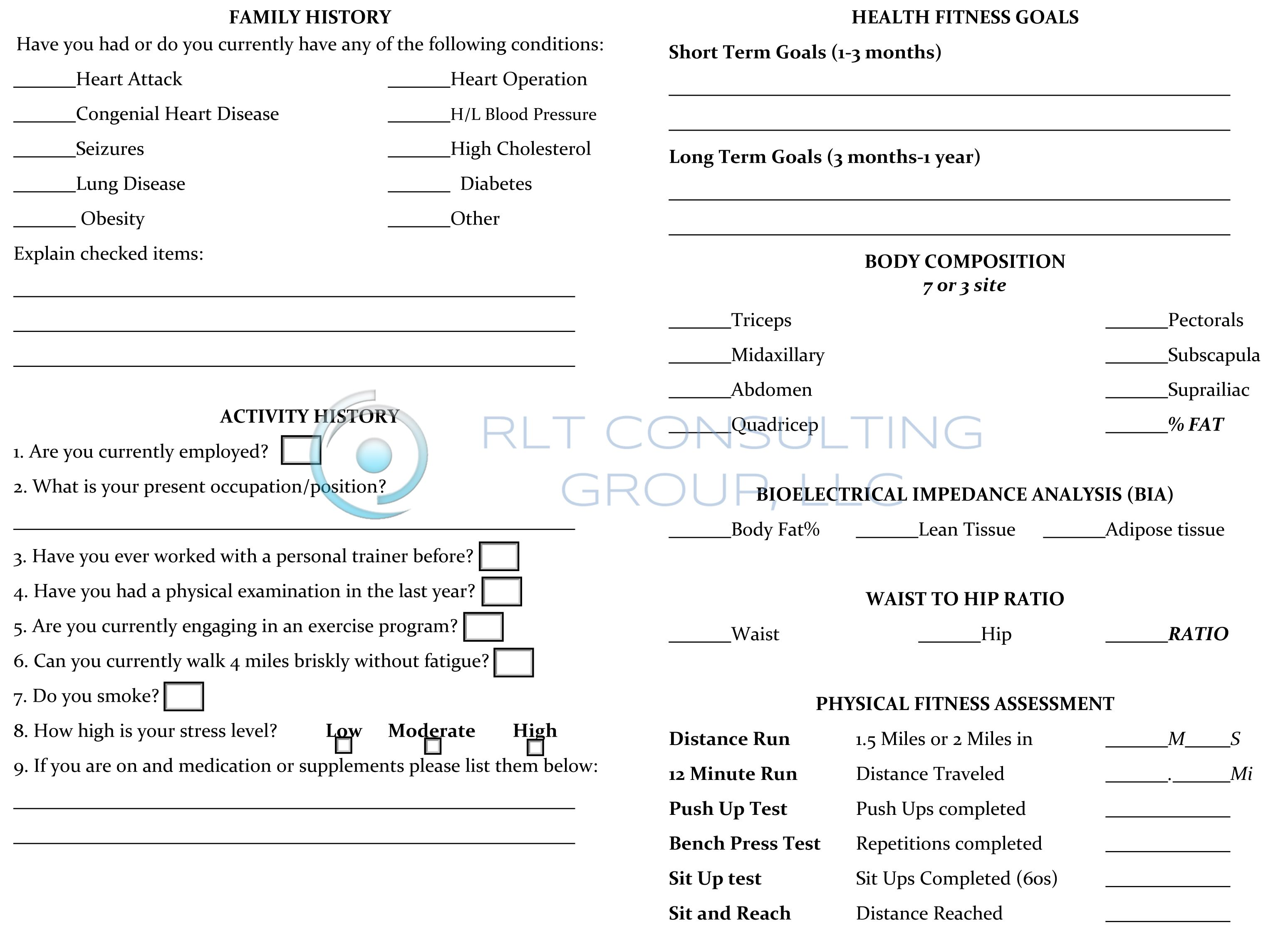 Fitness Assessment Form For Women Back By Rlt Consulting Group