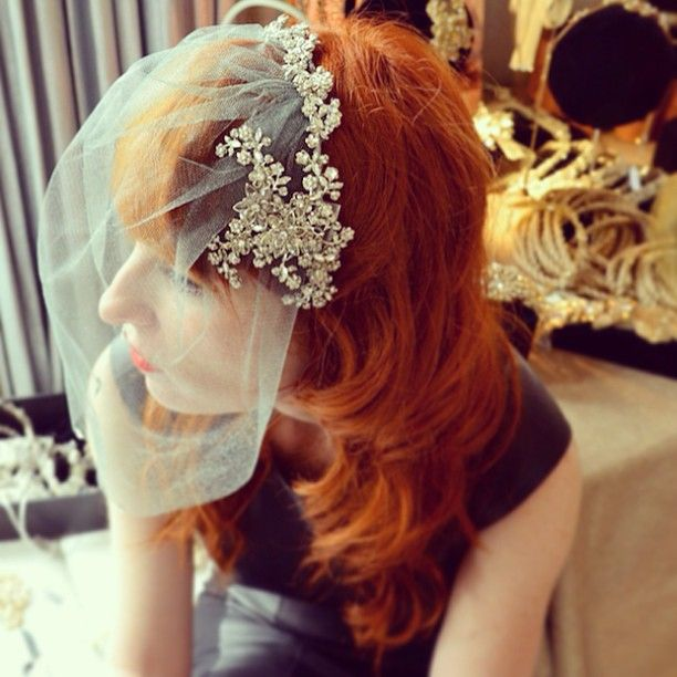 #flashbackfriday ... Photographed during Bridal Fashion Week April 2013... Our Fashion Director loves to play dress up in between appointments!!! @gred #bridalfashion #bridalheadpieces #bridalveil