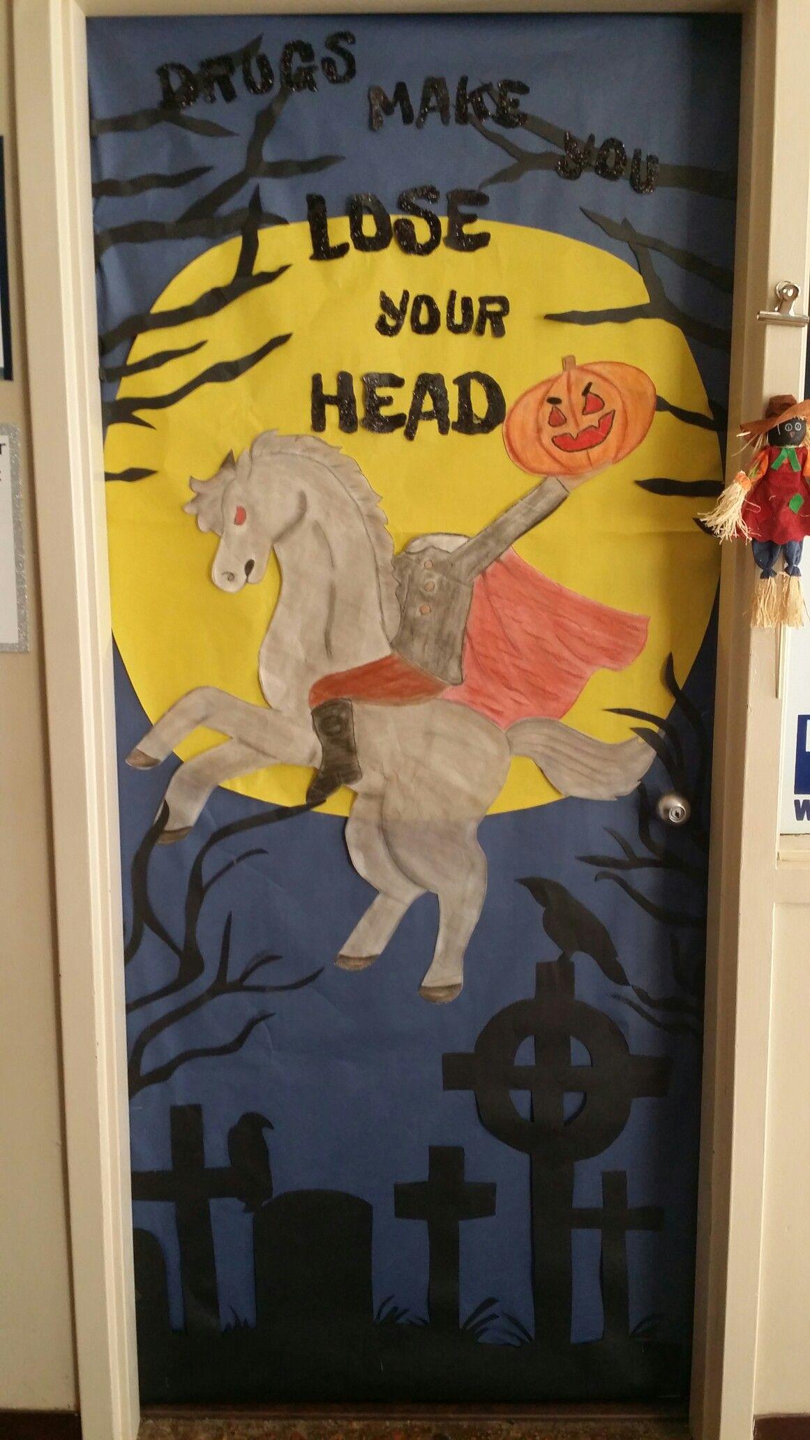 Red Ribbon Week Halloween Door