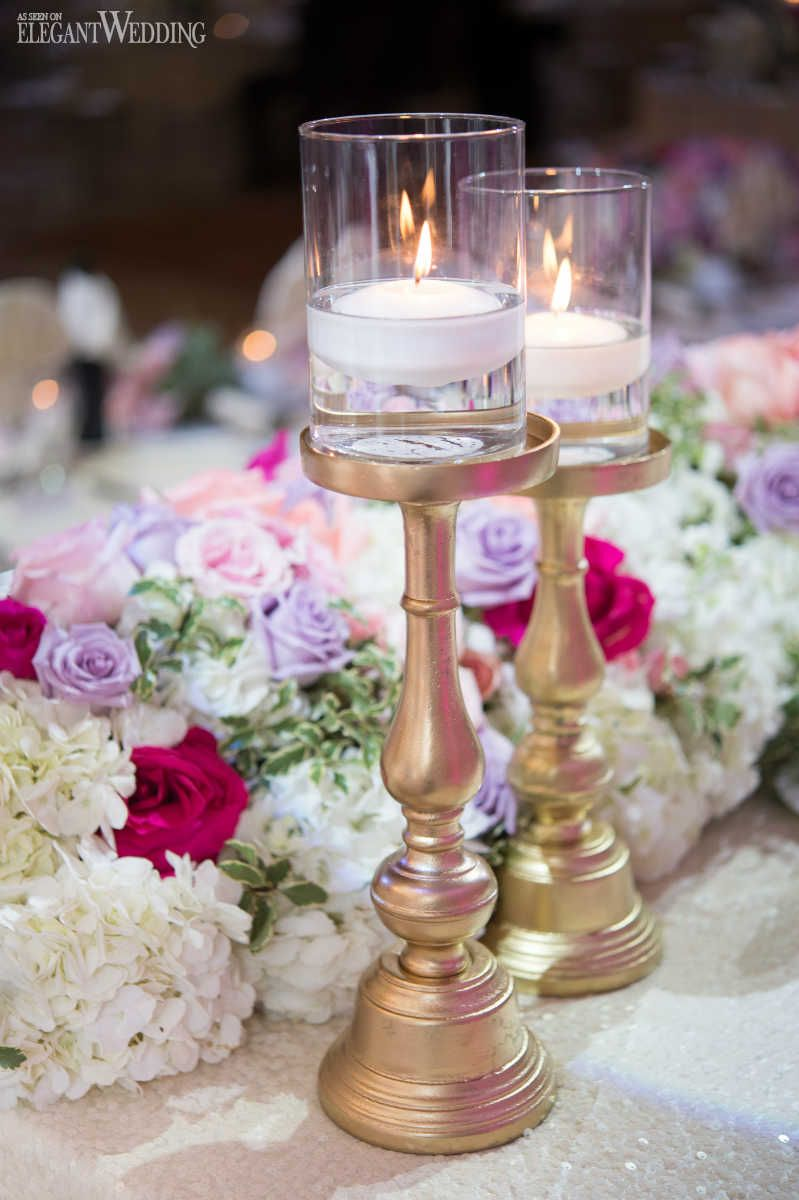 Elegant wedding decoration ideas  Lavish Wedding with Pops of Pink  floral arrangement ideas
