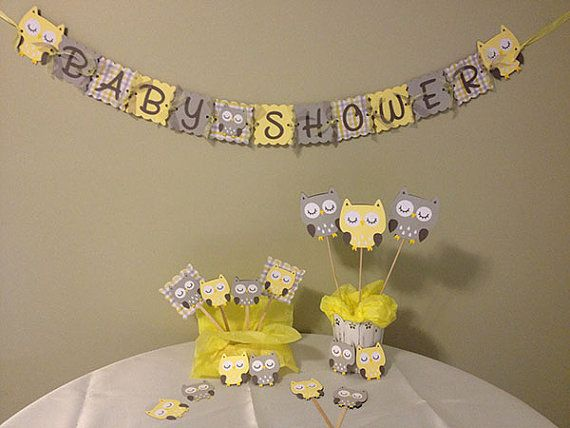 Owl Baby Shower Decorations Package   Owl Baby Shower   Yellow Grey White    Baby Neutral