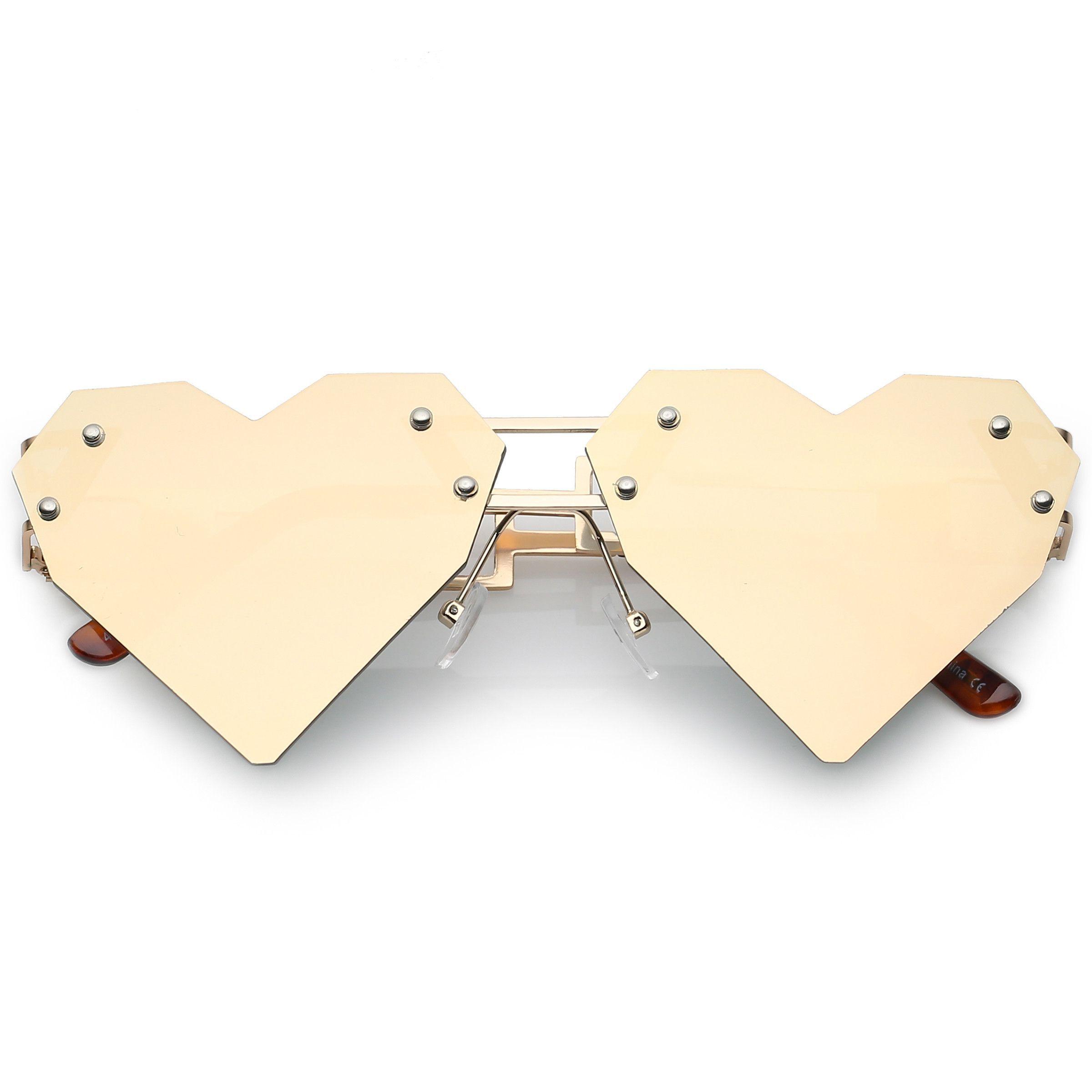 Novelty 8 Bit Laser Cut Heart Shape Mirrored Flat Lens Sunglasses