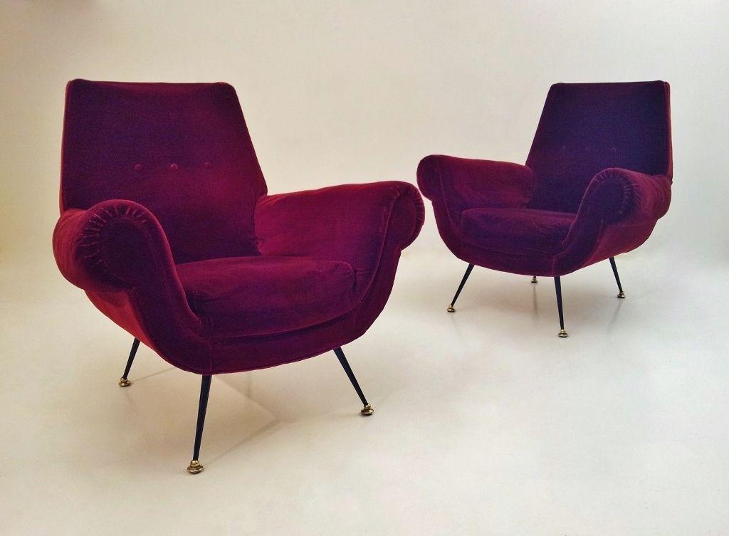 Pair Saporiti vintage sculptural armchairs, 1950`s ca
