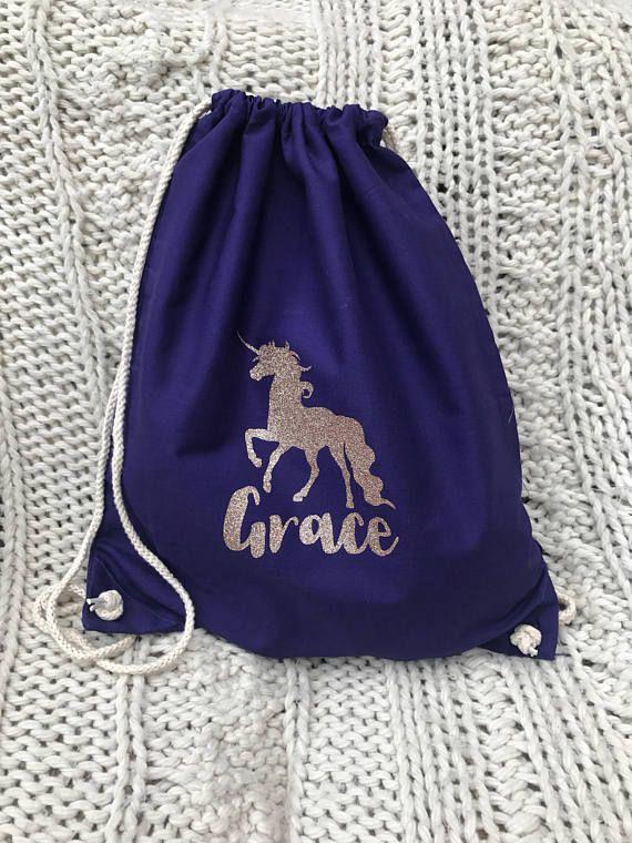abcacc12c6 Personalised Unicorn Drawstring Pe Bag. School