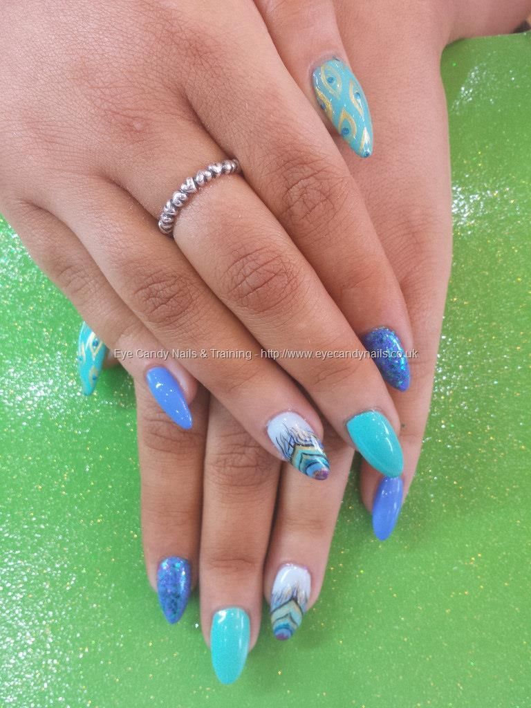 Mint And Blue Pea Freehand Nail Art