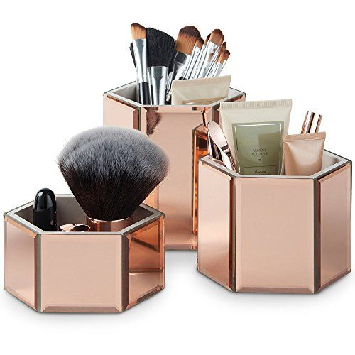 Photo of Beautify Mirrored Glass Storage Pots Dresser Top Organiser for Makeup, Brushes, Jewellery, Toiletries & Accessories (Rose Gold)