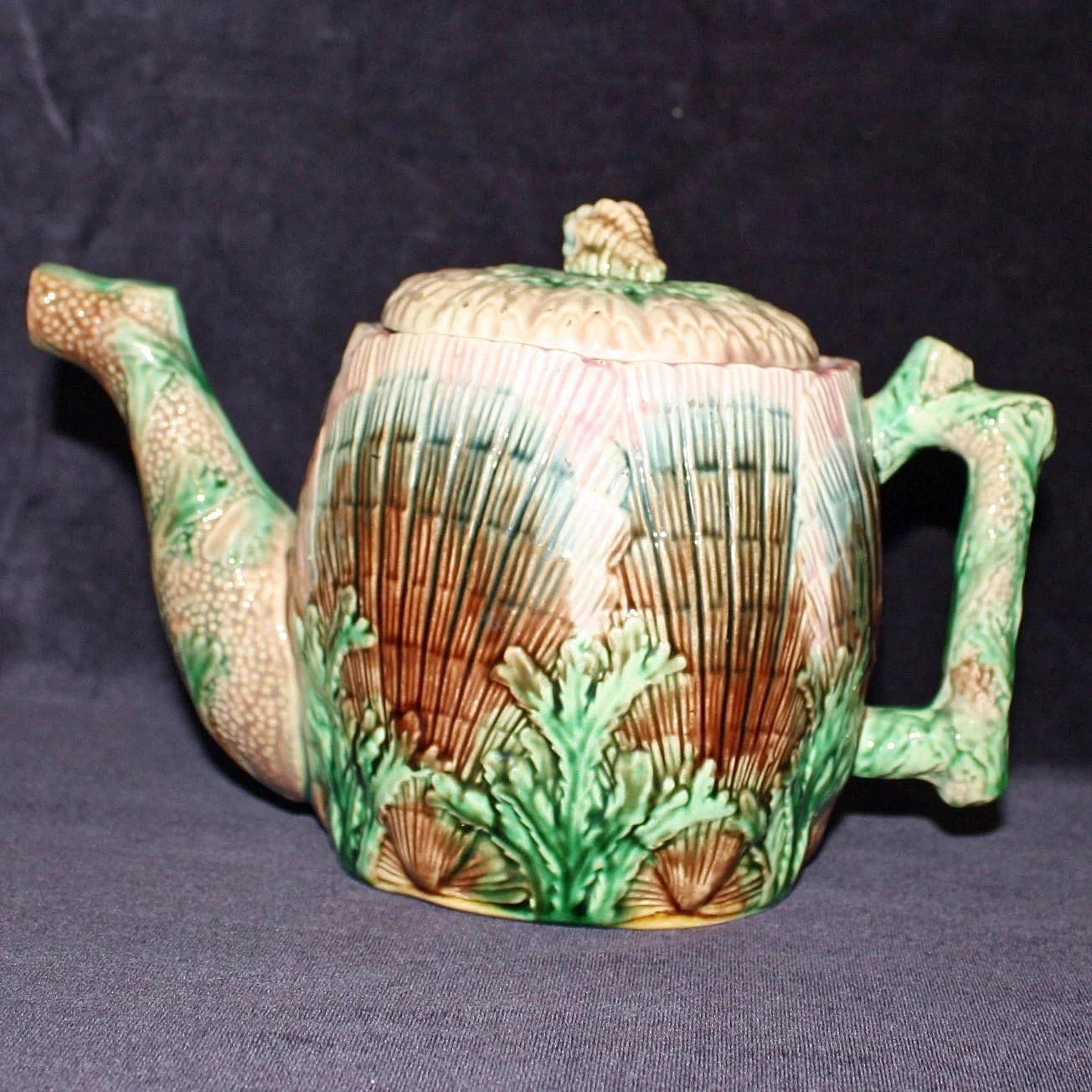 Antique Etruscan Majolica Shell Seaweed 6 Inch Tea Pot Teapot Griffin Smith Hill Tea Pots Tea Majolica