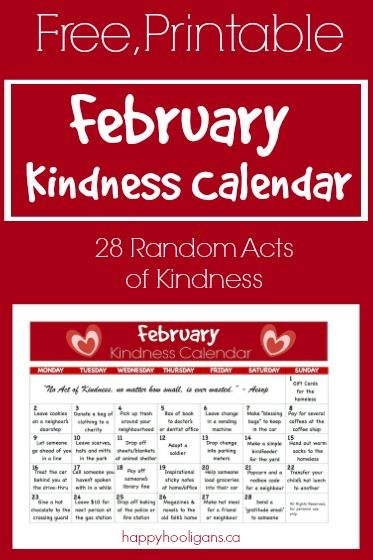 Kids Kindness Calendar February 2020 Kindness Calendar for February | 100 Acts of Kindness | Kindness