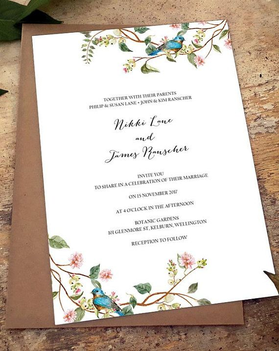 Botanical Wedding Invitation Template Download Greenery Invitation - wedding invitation samples australia