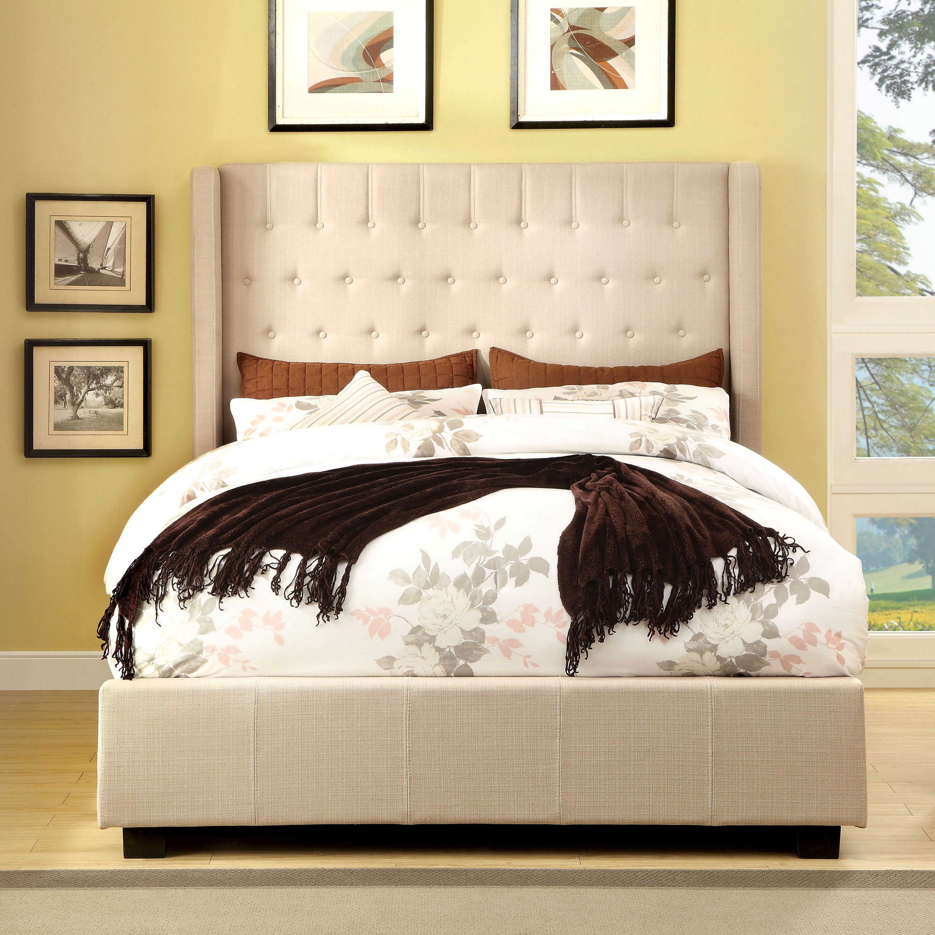 Mira Collection Ivory Fabric Upholstered And Tufted Tall Queen Headboard