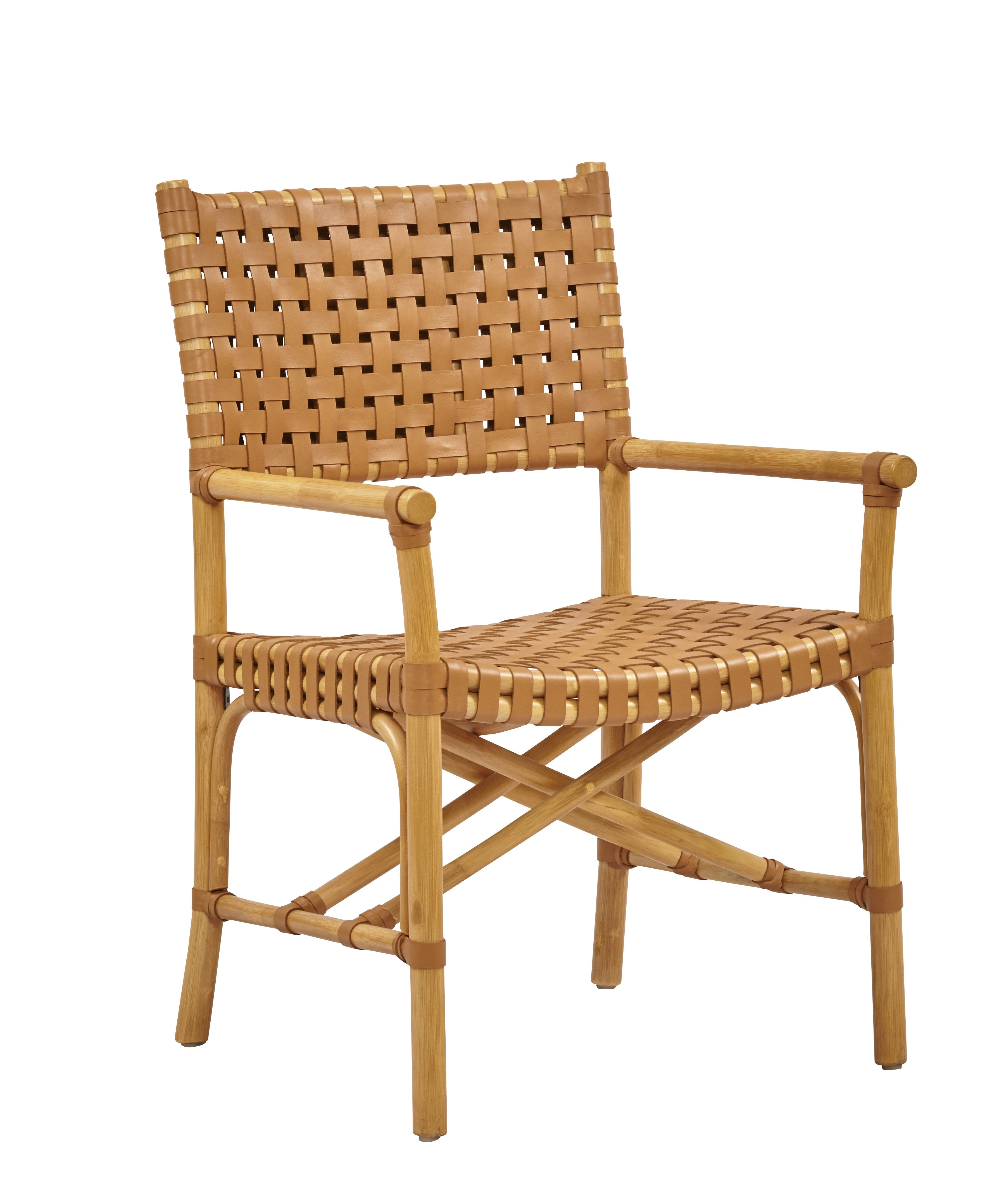 Malibu Arm Chair Pole Rattan With Woven Leather Seat Back And Wraps Shown In Natural Saddle Rattan Armchair Side Chairs Dining Luxury Dining Chair