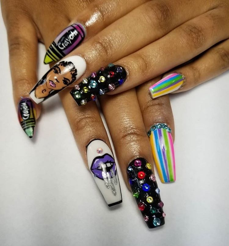 Cute Nail Art Idea Ghetto Nail Art Long Acrylic Gel Nails