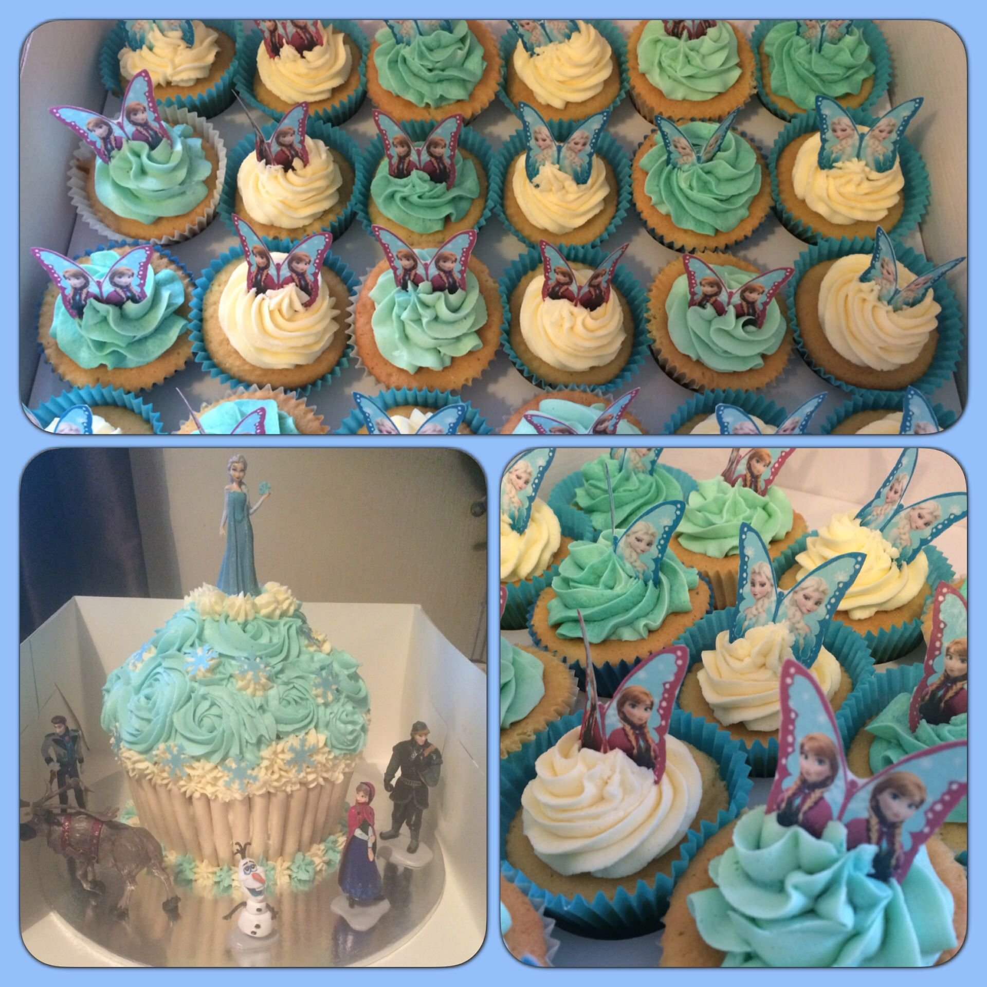 Frozen Themed Giant Cupcake Amp Small Cupcakes