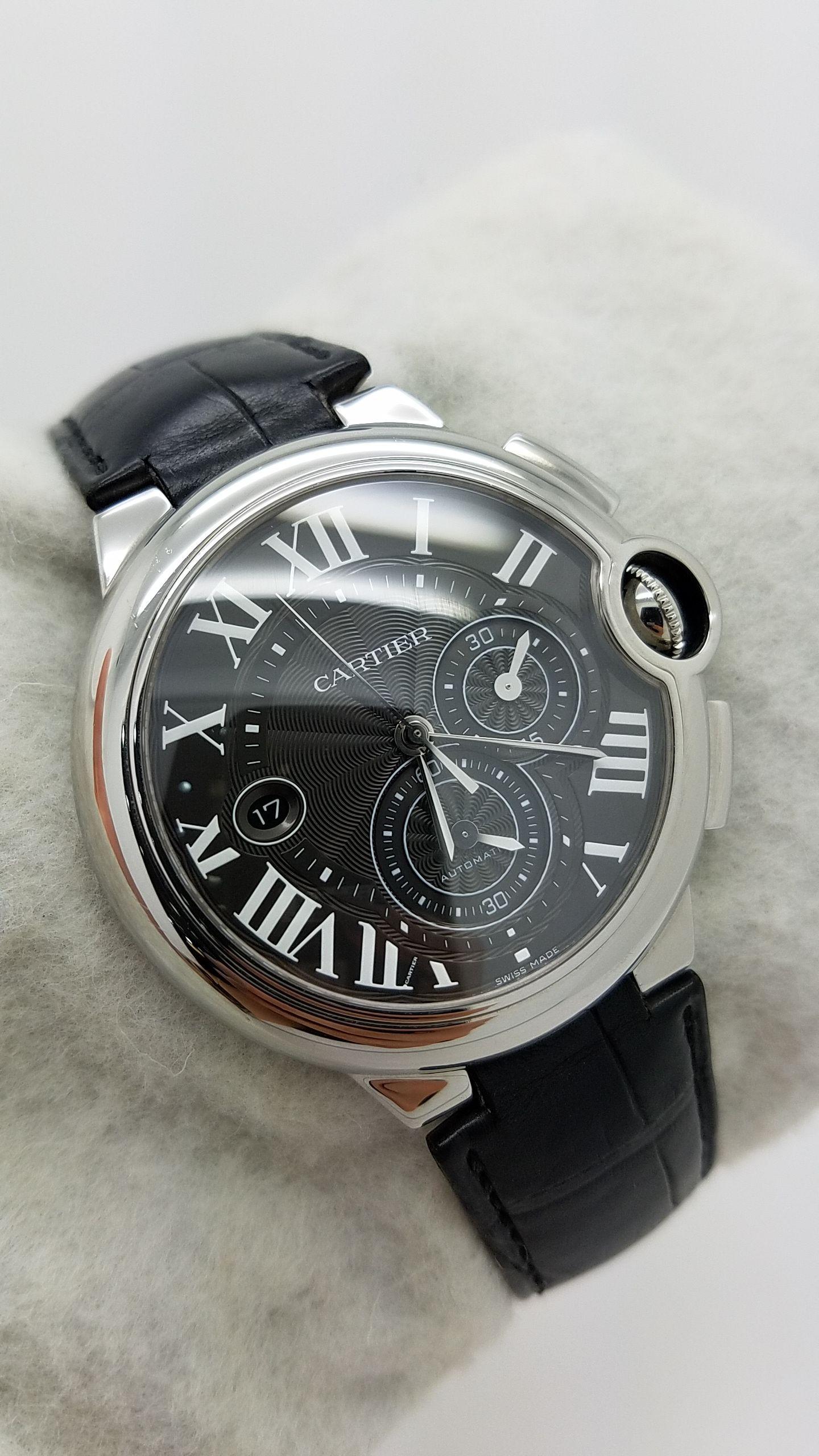 e9cc77ef32f7c CARTIER BALLON BLEU chronograph 3109 – W6920052 BLACK roman Stainless Steel  Genuine Leather 44mm Mechanical (Automatic) Watch