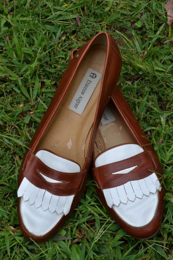 507ae120b55 Etienne Aigner Brown   White Loafers by meganleefer on Etsy