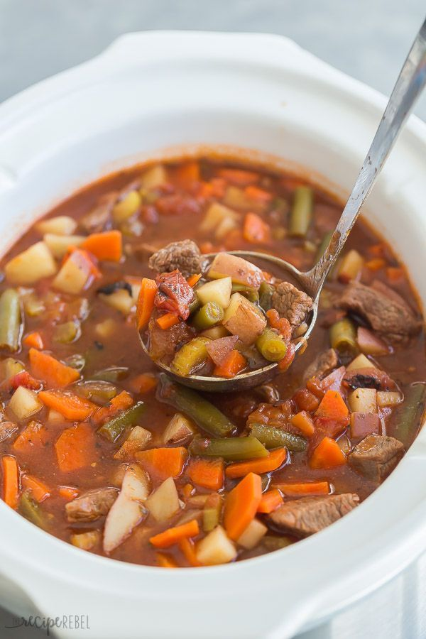 This crockpot Vegetable Beef Soup is a hearty, healthy soup recipe -- loaded with chunks of tender beef and lots of veggies! Perfect for your weekend meal prep and freezer friendly.