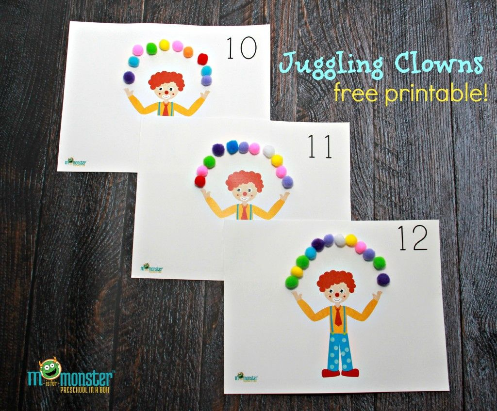 Juggling Clown Counting Activity Free Download Toddler