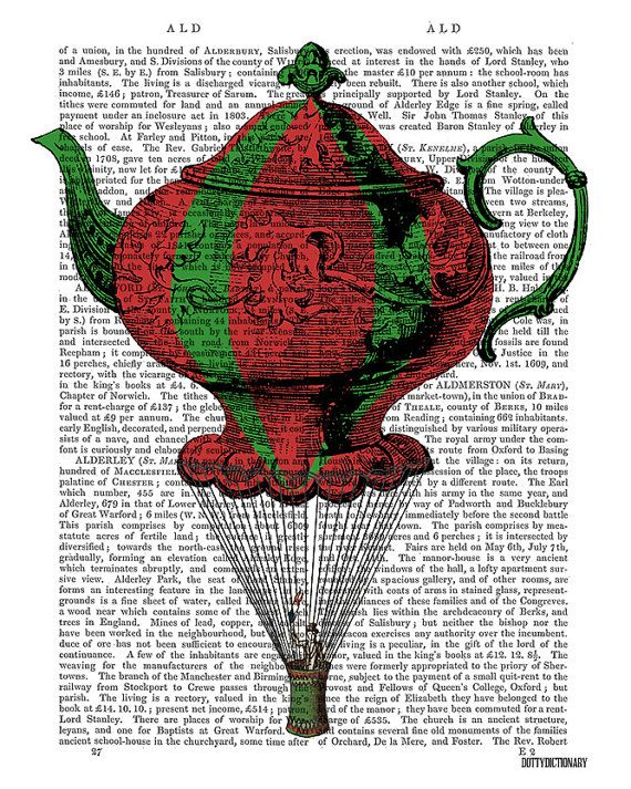 Flying teapot in the style of a vintage hot air balloon. Original artworks by DottyDictionary. One in a series available as a set within the